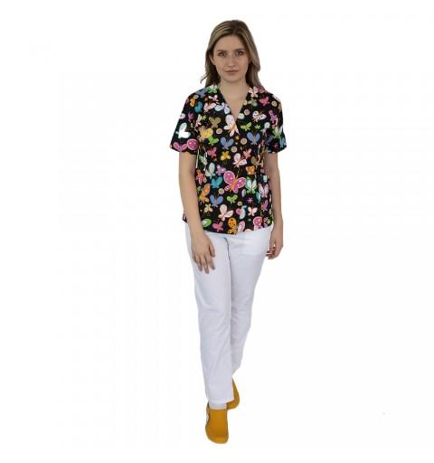 Bluza kimono imprimata, cu...