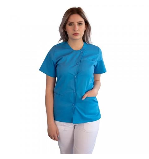 Bluza asimetrica cu capse, Lotus 2, albastru deschis
