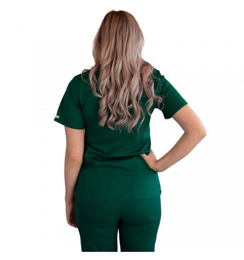 Bluza asimetrica cu capse, Lotus 2, verde hunter
