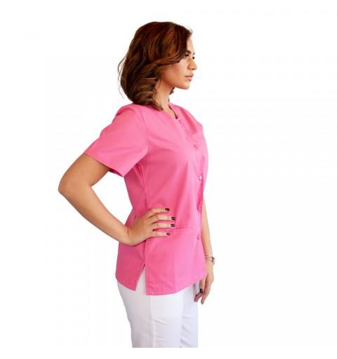 Bluza asimetrica cu capse, Lotus 2, roz prafuit