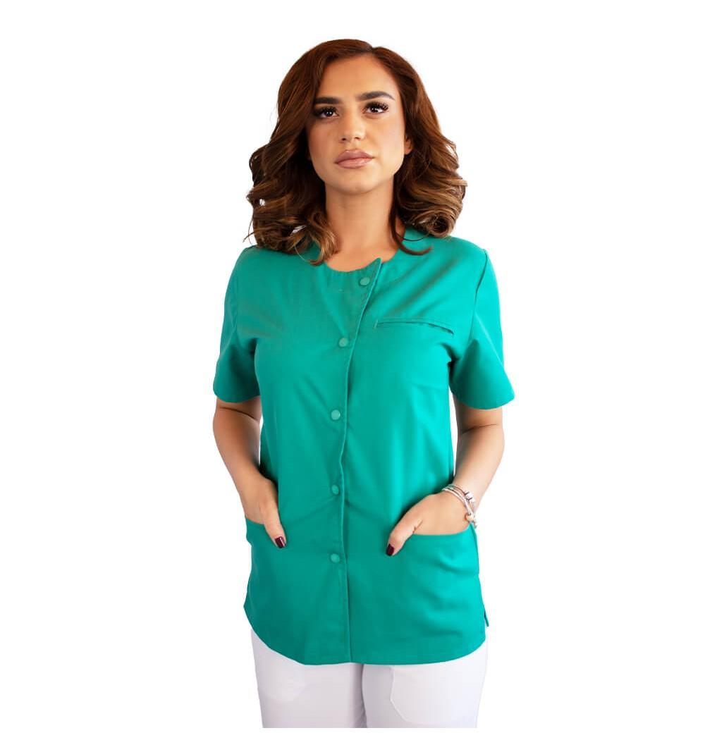 Bluza asimetrica cu capse, Lotus 2, verde chirurgical