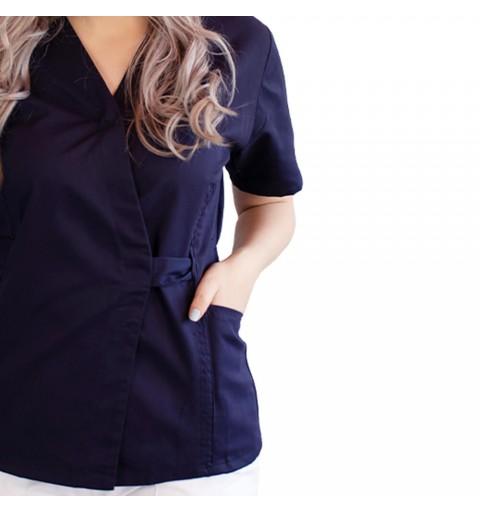 Bluza kimono cu maneca scurta, Lotus 2, bleumarin