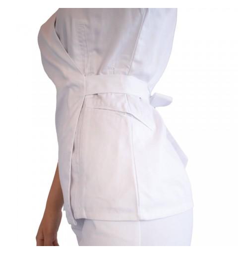 Bluza kimono cu maneca scurta, Lotus 2, alb