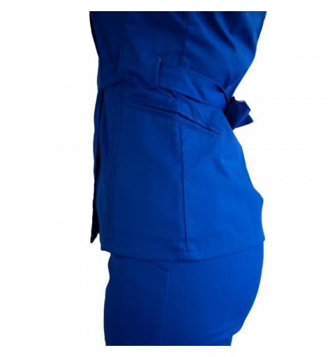 Bluza kimono cu maneca scurta, Lotus 2, albastru royal