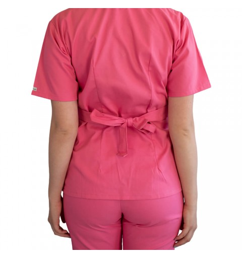 Bluza kimono cu maneca scurta, Lotus 2, roz prafuit