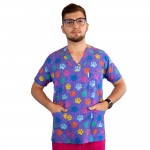 Bluza medicala imprimata Lotus 1, cu buzunar, Multi Paw