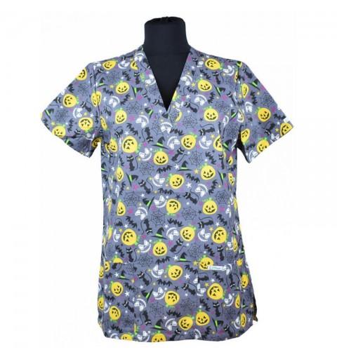 Bluza medicala imprimata, editie speciala de Craciun-Halloween - Lotus