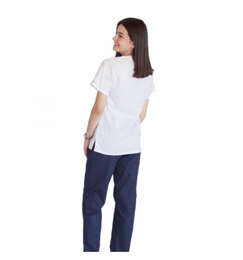 Bluza asimetrica cu capse, Lotus 2, alb